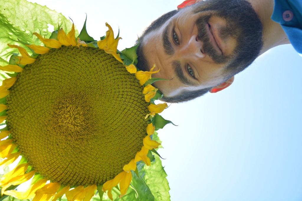 A bearded man and a sunflower.