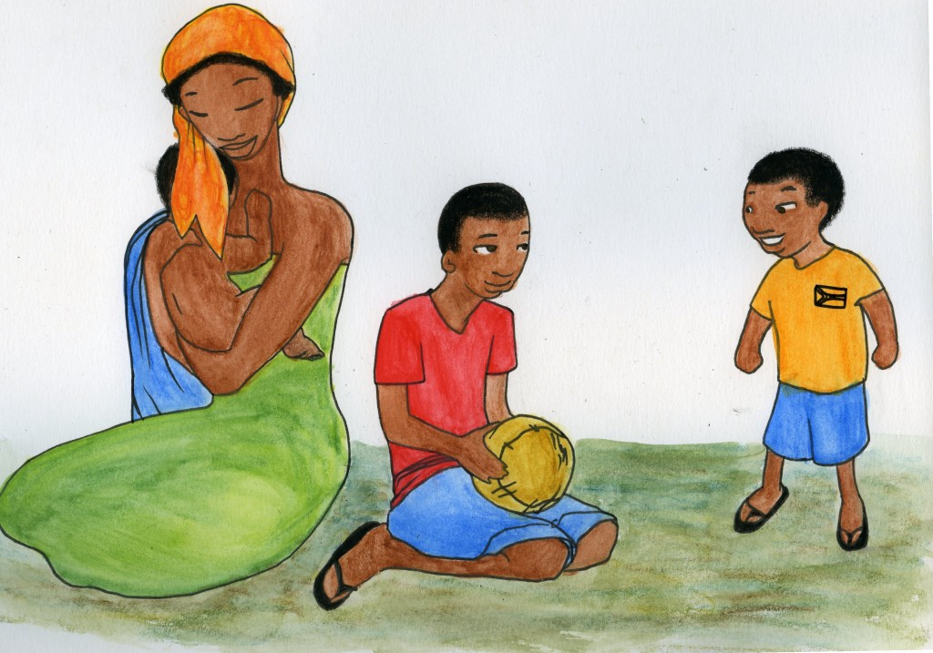 A woman holds a naked baby. She sits by a pre-teen boy and an even younger boy