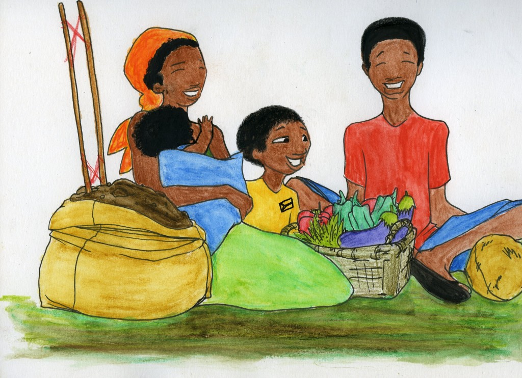 A woman holding a baby grins with her two sons. They sit by a sack of dirt and a vegetable basket.