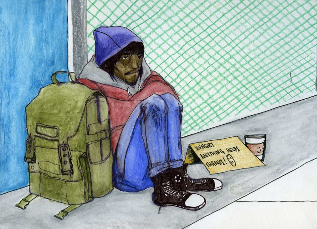 """A teenager sits on the street beside a backpack. A sign saying """"Hungry. Anything helps. Thanks!"""""""