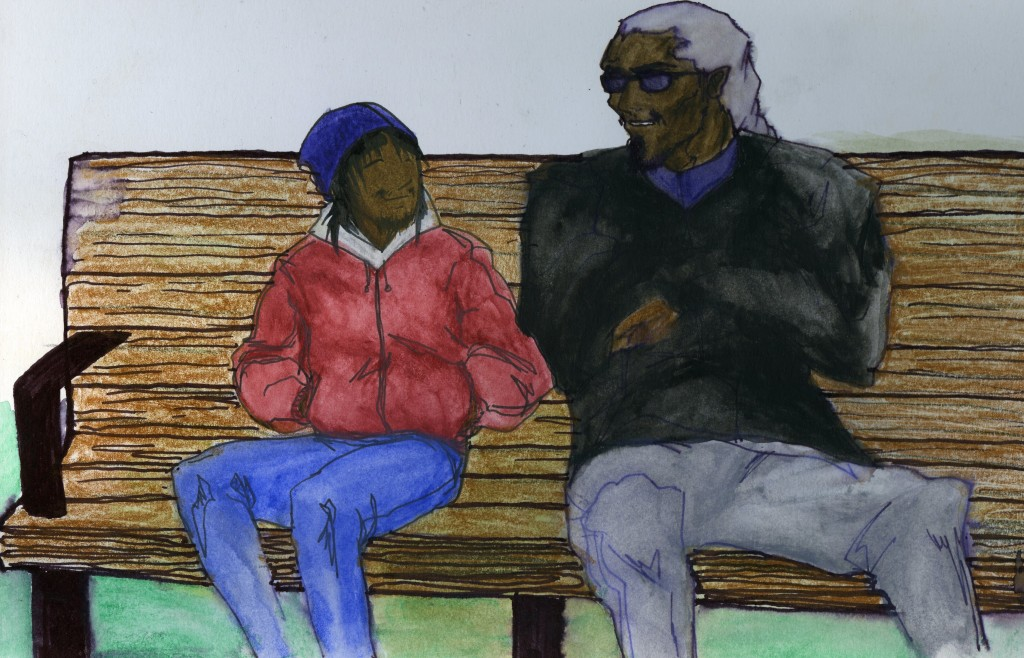 A teenager smiles at a man. They both sit on a bench.