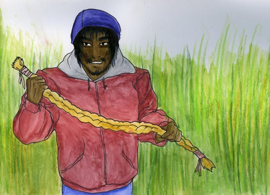 A teenager holds a long grass braid, grinning.