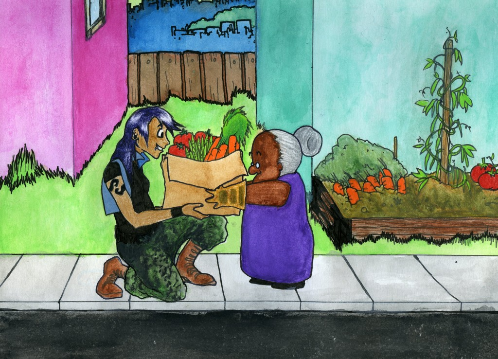 A person with a lip ring and a tattoo accepts a box of vegetables from a short, old woman.