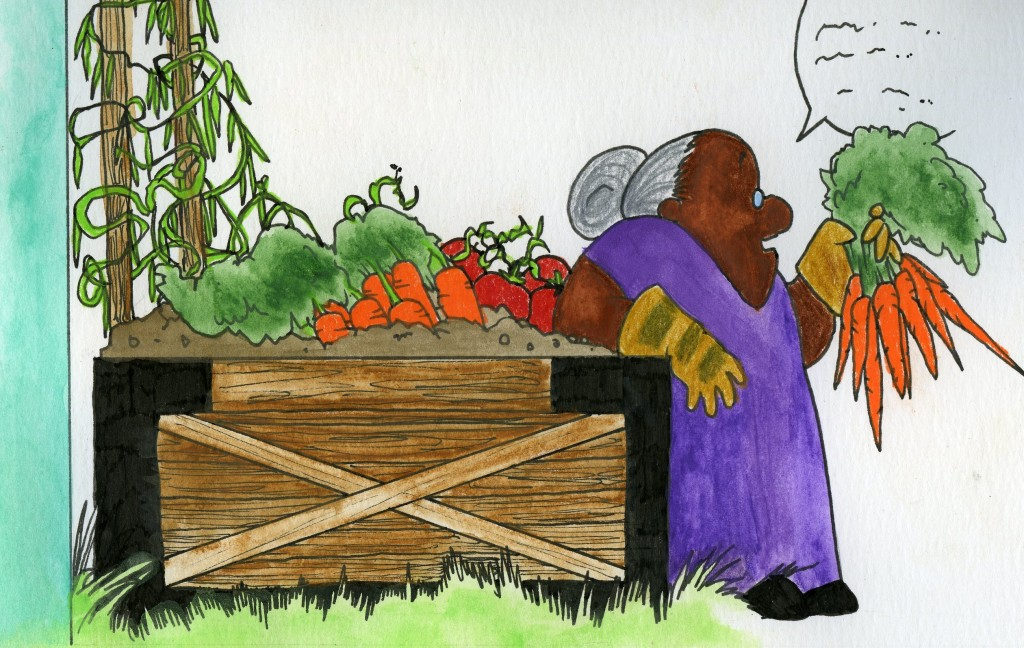 An old woman holds and talks to a bunch of carrots. She leans on the edge of a lively box garden.