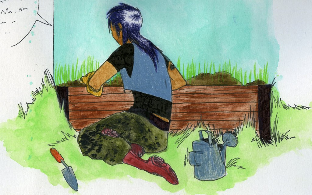 A person leans over a box garden, talking to it. Beside them is a watering can and trowel.