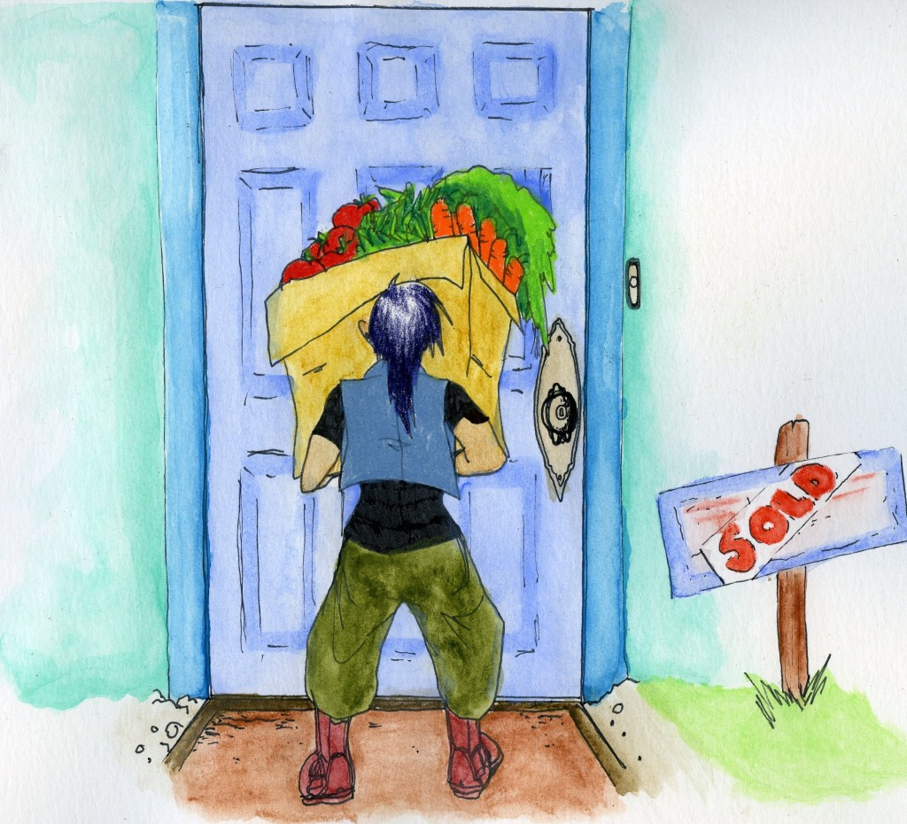 A person standing outside a front door holds a huge box of vegetables. Beside them is a sold sign.