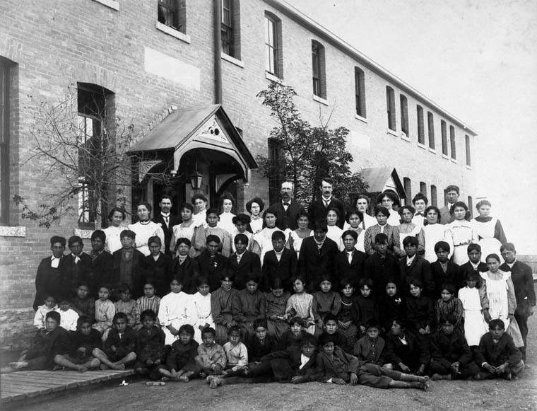 picture of students and staff in residential school