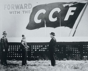 https://commons.wikimedia.org/wiki/Category:Tommy_Douglas#mediaviewer/File:Flag-Billboard-Forward_with_CCF,_1944.jpg