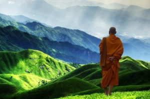 A Buddhist monk wearing an orange robe surveys a green valley and hills, one hand behind his back.