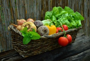 Basket of lettuce, tomatoes, beets, onions, mint, a parsnip, and a bell pepper.