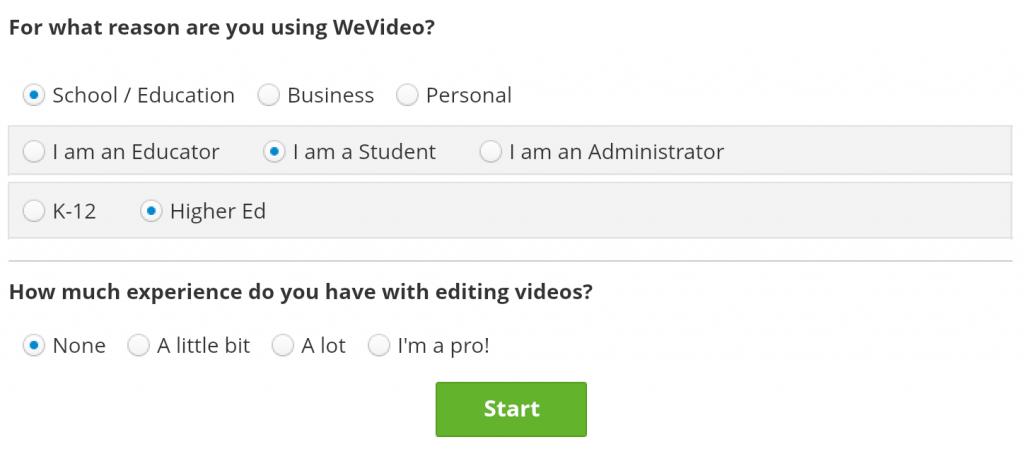 Filled in Survey - screenshot