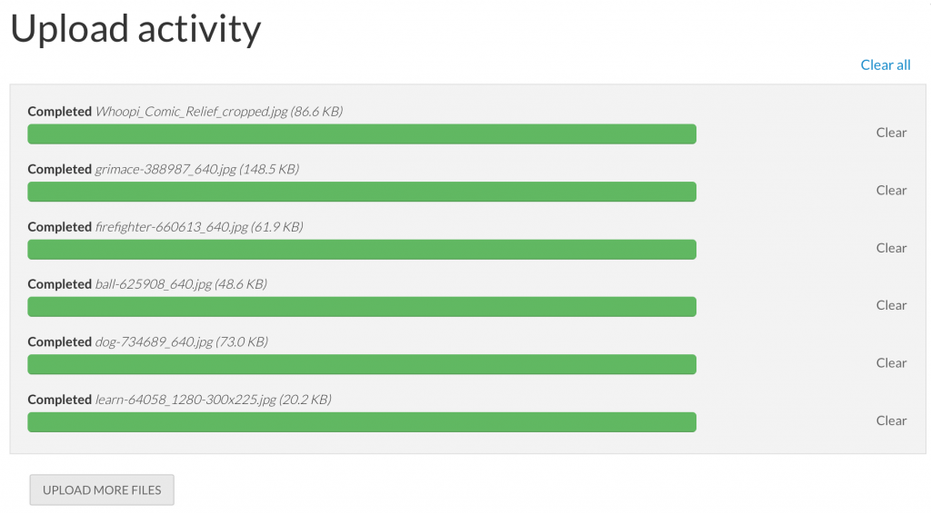 Upload activity complete - screenshot
