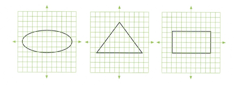 3 Graphs with circle, triangle and rectangle outlines