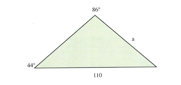Traingle with 44, 86 and 110 degree sides.