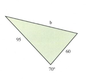 Triangle with sides of 96 and 60, and an angle of 70 degrees