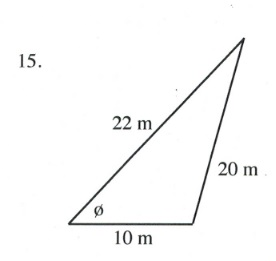 Triangle with sides of 22, 20 and 10 m