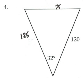 Triangle with sides 125, 120 and angle between of 32 degrees