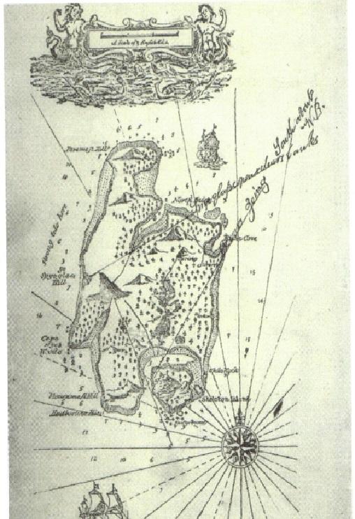 A hand-drawn treasure map of an island.