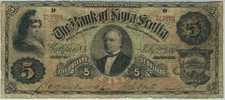 1881 $5 bill from the Bank of Nova Scotia.