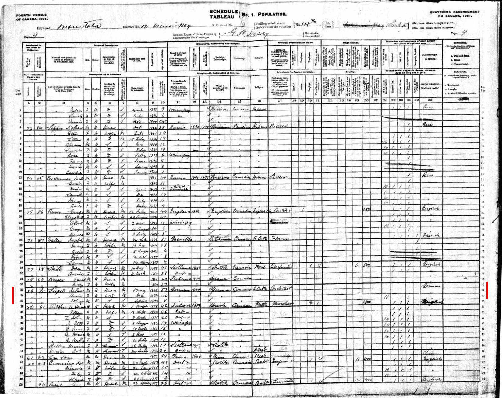 A ledger from the 1901 census in Winnipeg.