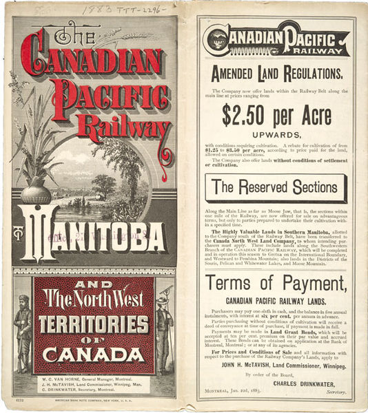 Flyer advertising land along the Canadian Pacific Railway for sale. Long description available.
