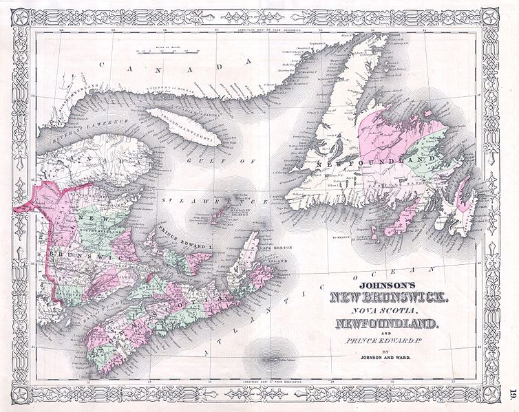 Map of Atlantic provinces.