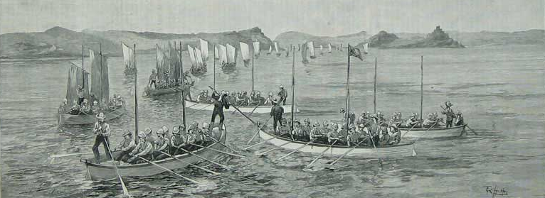 A fleet of canoes full of soldiers floats down the Nile.