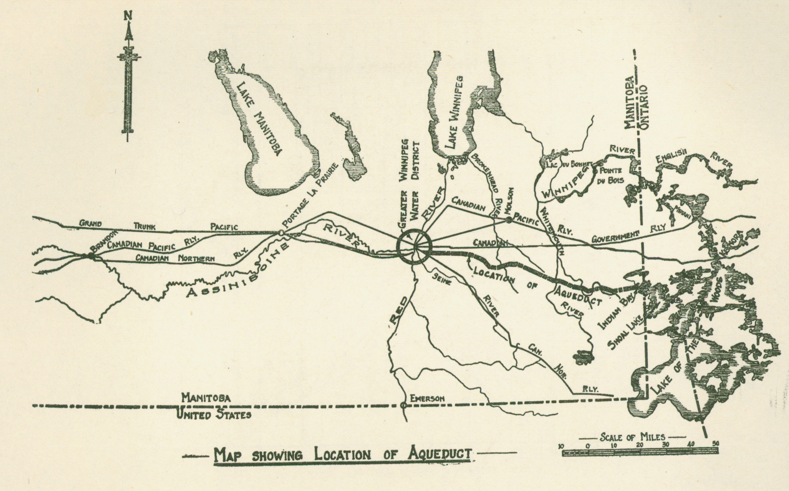 Map showing a sprawl of roads and railways advancing from Winnipeg.