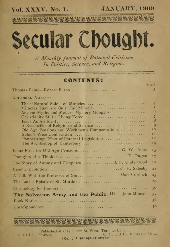 Table of contents of the journal Secular Thought. Long description available.