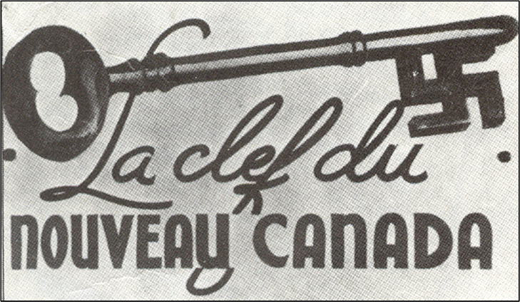 """Swastika key with caption """"La clef du nouveau Canada,"""" meaning """"The key to the new Canada."""""""