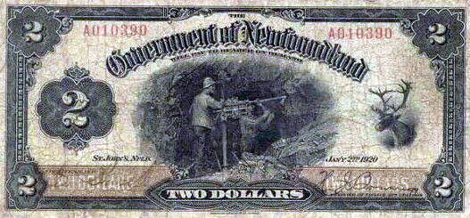 Newfoundland $2 bill. It features miners and a caribou.