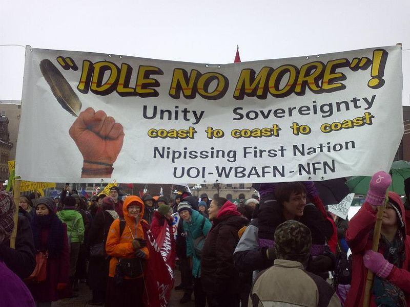 Idle no more protestors. Long description available.