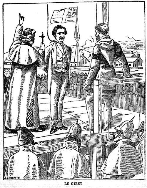 Cartoon of the hanging of Louis Riel.