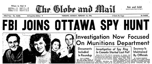 Front page of a 1946 Globe and Mail. Long description available.