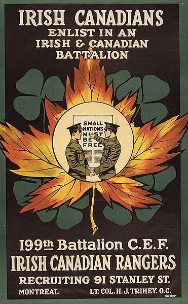 Recruitment poster for Irish Canadians. Long description available.