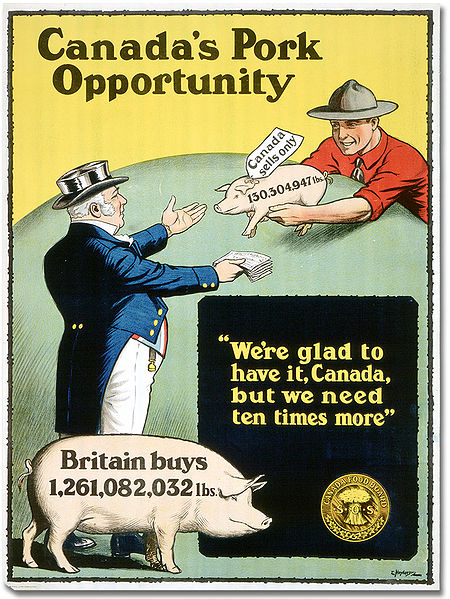 Cartoon of Johnny Canuck and John Bull. Long description available.