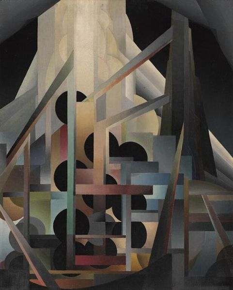 Abstract painting of black circles and intersecting thin rectangles.