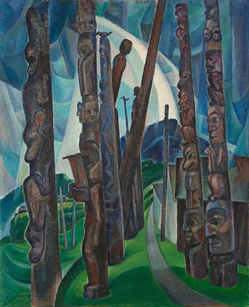 Painting of several tall, thin totem poles.