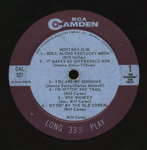 Record by Wilf Carter. Long description available.