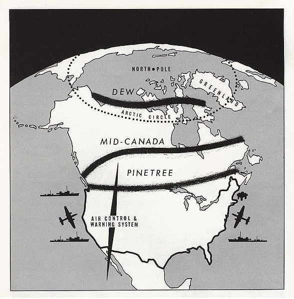 Map showing the Arctic DEW Line, the Mid-Canada line, and the Pinetree Line on the 49th parallel.