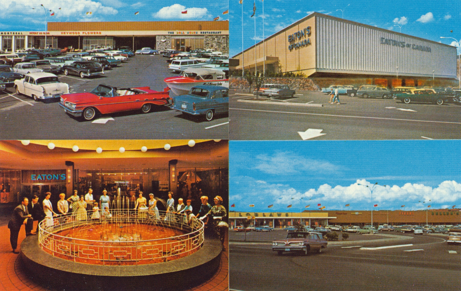 Three exterior photos of an early shopping mall. One photo of mostly women around a mall fountain.