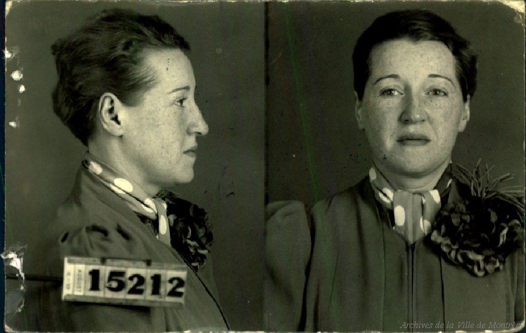 Mug shots of a woman wearing a polka dot scarf. Her face is freckled and her hair is neat.