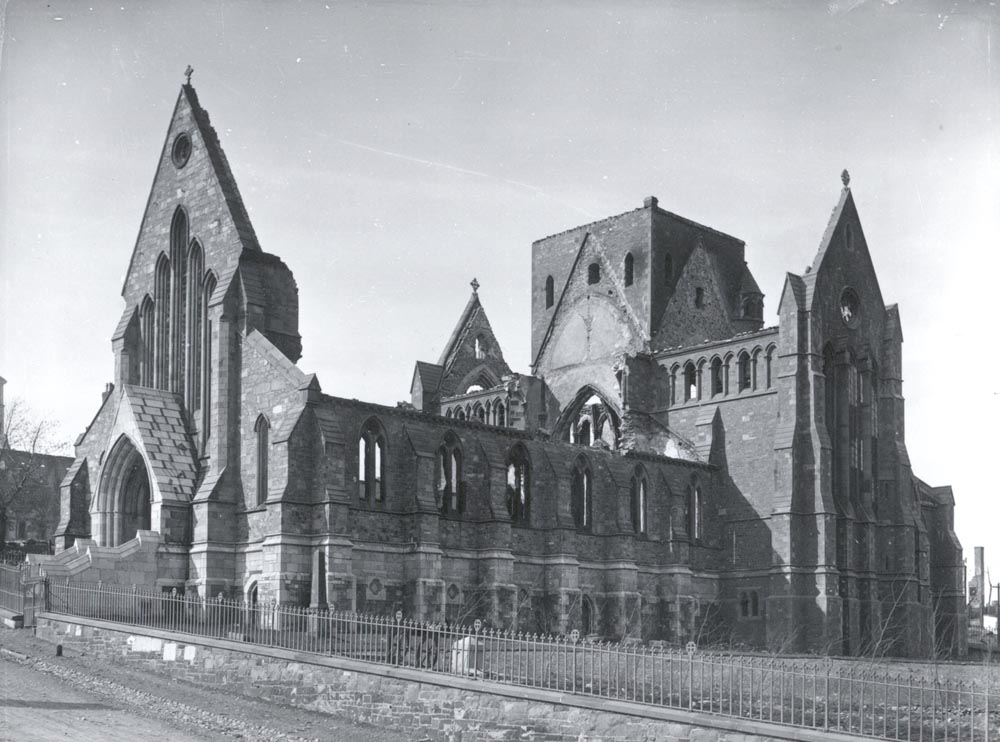 External view of a burnt-out cathedral.