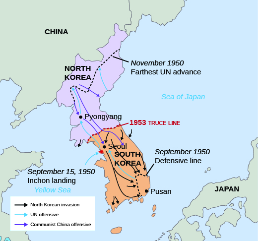 Map showing offensives and borders during the Korean War.
