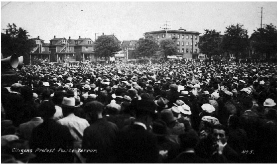 People crowd a public park ringed by houses and trees.