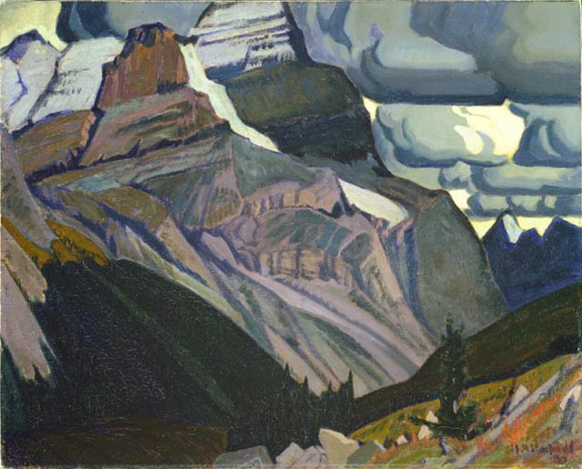 An oil painting of mountains and trees on mountain slopes.