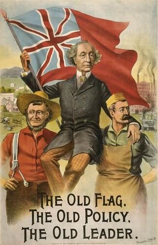 1891 election campaign poster. Long description available.