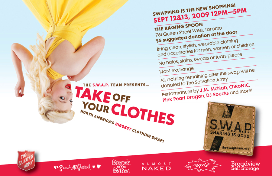 """Poster for an event called """"Take Off Your Clothes,"""" affiliated with the Salvation Army."""