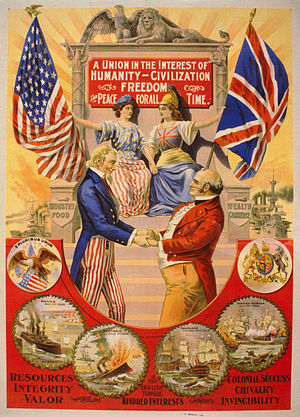 A poster depicting an alliance between the US and the UK. Long description available.