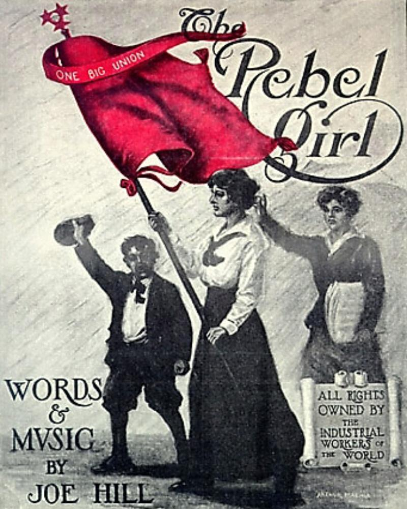"""A woman hoists a red flag labelled """"one big union."""" She is flanked by a woman and a boy."""